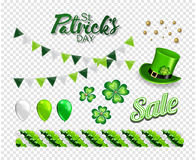 Set of illustrations for celebrating St. Patrick`s Day. Leprechaun hat, pot of gold, clover and flag. Stock Photos