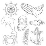 Set of illustrations for children coloring pages. Stock Image