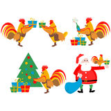 Set illustrations of the cock and Christmas Stock Images