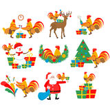 Set illustrations of the cock, new year, christmas Stock Image