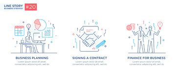 Set of illustrations concept with business concept. Workflow, growth, graphics. Business development, milestones, start stock image