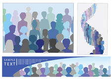 Set of illustrations with crowd, including banner vector illustration