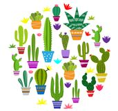 Set of illustrations of cute cactus royalty free illustration