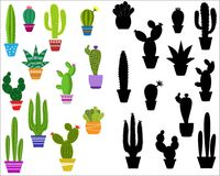 Set of illustrations of cute cactus. And succulents in pots and with plants. can be used for cards, invitations or like sticker Royalty Free Stock Photography