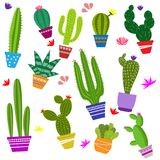 Set of illustrations of cute cactus. And succulents in pots and with plants. can be used for cards, invitations or like sticker Stock Image