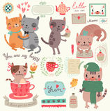 A set of illustrations with cute cats Stock Images
