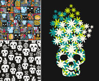 Set of illustrations with cute skulls and flowers Royalty Free Stock Photography