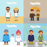 A set of illustrations of different seasons. Royalty Free Stock Image