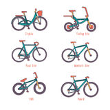 Set of illustrations different types bicycles Royalty Free Stock Image