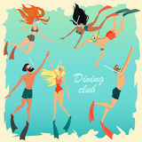 Set of illustrations of divers. Colorful characters Royalty Free Stock Image