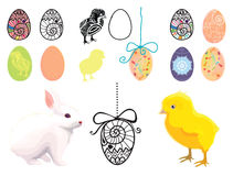 Set of illustrations on easter theme. With eggs, rabbit, chicken Royalty Free Stock Image