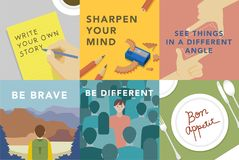 Set of illustrations exploring the concept of human values Royalty Free Stock Photography