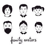Set illustrations -- family avatars Royalty Free Stock Photography