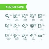 Set of illustrations fine line icons of analysis, search of information. Pixel perfect. Set of illustrations fine line icons, concept of analysis, search of Stock Photos