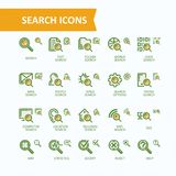 Set of illustrations fine line icons of analysis, search of information. 32x32 and 16x16 pixel perfect. Set of illustrations fine line search icons, concept of Royalty Free Stock Photos