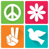 Set of 4 illustrations in flat design, peace and antiwar theme Royalty Free Stock Photo