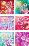 Set of illustrations with flowers Royalty Free Stock Photos