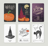 Set of illustrations for Halloween in retro style Royalty Free Stock Image