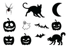 Set of illustrations on halloween theme. Jack o lantern and cats and pumpkins and spider and moon with ghost also bats vector illustrations stock illustration