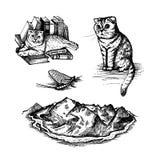 Set of illustrations of hand drawn sketch royalty free illustration