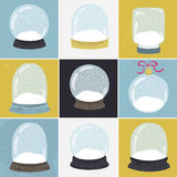 Set of 9 illustrations with hand drawn snow globe. Royalty Free Stock Images