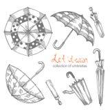 Set of illustrations of hand-drawn umbrellas. Contour pattern vector illustration