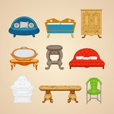 Set of illustrations of home furnishings on a Royalty Free Stock Photo