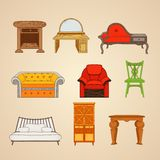 Set of illustrations of home furnishings Royalty Free Stock Photo