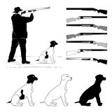 Set of illustrations for hunters Stock Photos