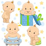 Baby boy 9 part. A set of illustrations of icons with a baby boy, stands with his back without clothes, on holiday he crawls out of a gift box, learns to walk royalty free illustration
