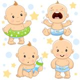 Baby boy 4 part. Set of illustrations of icons of baby of children of boy with a life ring, hysterical and crying, with a bottle of milk, and is standing royalty free illustration
