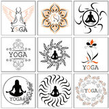 Set of illustrations, icons and logos on the theme of yoga. Blac Royalty Free Stock Photography