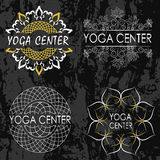 Set of illustrations, icons and logos on the theme of yoga.  Royalty Free Stock Images