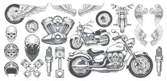 Set of illustrations, icons of vintage motorcycle in various angles, skulls, wings. Set of illustrations, icons of hand-drawn vintage motorcycle in various Royalty Free Stock Photo