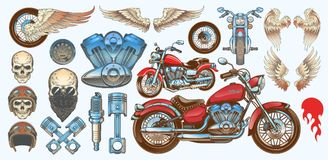 Set of illustrations, icons of vintage motorcycle in various angles, skulls, wings. Set color illustrations, icons of hand-drawn vintage motorcycle in various Stock Images