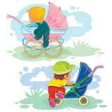 Set illustrations of little kids and baby carriage, stroller Royalty Free Stock Photos