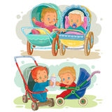 Set illustrations of little kids in a baby carriage and stroller Royalty Free Stock Images