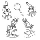 A set of illustrations of microscopes and magnifiers Stock Photos