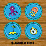 Set of illustrations of octopus, jellyfish, island, compass in r Stock Photo