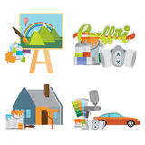 Set of illustrations. Painting Stock Image