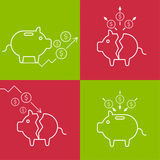 Set of illustrations with a piggy bank Royalty Free Stock Image