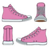 Set of illustrations with pink sneakers. Isolated vector objects. Set of illustrations with pink sneakers. Isolated vector objects on white background royalty free illustration