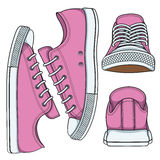 Set of illustrations with pink sneakers. Isolated vector objects on white background vector illustration
