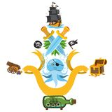 Set illustrations with pirate attributes. Various items Medieval Pirates. Cartoon drawing for gaming mobile applications vector illustration