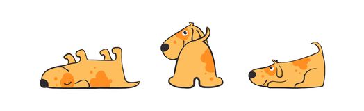 Set of illustrations of Playful puppy in various poses. Isolated Funny dog daily routine, cute little cur in his royalty free stock photos