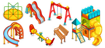 A set of illustrations of the playground. Equipment for playing. Stock Photography
