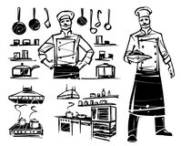 Set of illustrations with a professional chef. Professional kitchen and kitchenware. Hand drawn illustration Royalty Free Stock Photo