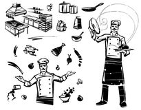 Set of illustrations with a professional chef. Professional kitchen and kitchenware. Hand drawn illustration Stock Photography