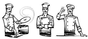 A set of illustrations by professional chefs on the belt. Hand drawn illustration Royalty Free Stock Photography