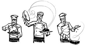 A set of illustrations by professional chefs on the belt. Hand drawn illustration Stock Photography